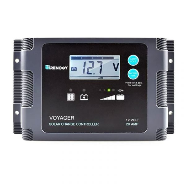 Renogy - Voyager 20A PWM Waterproof Charge Controller W/LCD Display and LED Bar